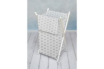 (Royal) - BABY LAUNDRY BASKET NURSERY HAMPER BAG STORAGE BIN WITH REMOVABLE LINEN 70 LITRE WHITE FRAME (Royal)