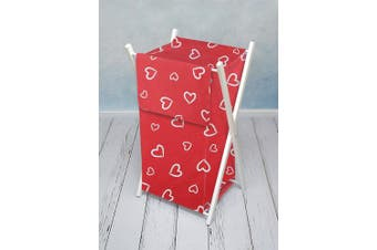 (White hearts on red) - BABY LAUNDRY BASKET NURSERY HAMPER BAG STORAGE BIN WITH REMOVABLE LINEN 70 LITRE NATURAL WOOD FRAME (White hearts on red)