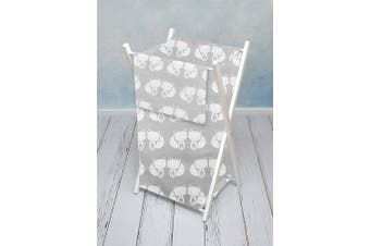 (Fox grey) - Baby Laundry Basket Nursery Hamper Bag Storage BIN with Removable Linen 70 Litre White Frame (Fox Grey)