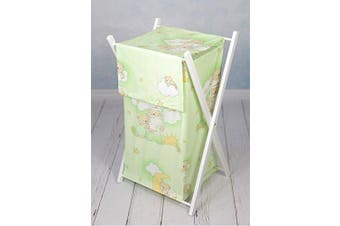 (Teddy ladder green) - BABY LAUNDRY BASKET NURSERY HAMPER BAG STORAGE BIN WITH REMOVABLE LINEN 70 LITRE WHITE FRAME (Teddy ladder green)