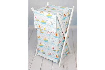 (Boats) - Baby Laundry Basket Nursery Hamper Bag Storage BIN with Removable Linen 70 Litre White Frame (Boats)