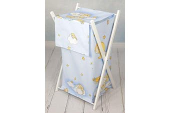 (Teddy ladder blue) - Baby Laundry Basket Nursery Hamper Bag Storage BIN with Removable Linen 70 Litre Natural Wood Frame (Teddy Ladder Blue)