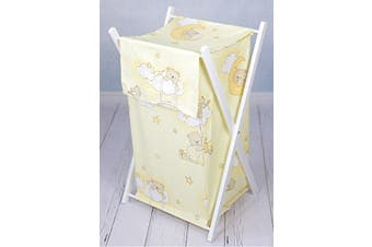 (Teddy ladder cream) - Baby Laundry Basket Nursery Hamper Bag Storage BIN with Removable Linen 70 Litre White Frame (Teddy Ladder Cream)