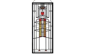 Frank Lloyd Wright Robie Window Stained Glass - 36cm x 15cm