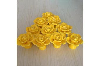 (Yellow) - SunKni 41mm 10Pcs Rose Flower Floral Knobs Ceramic Drawer Handles Pulls for Wardrobe Cupboard Dresser Cabinet Closet Kitchen Furniture with Free Screws New Sets Pack of 10 (Yellow)
