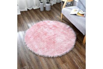(1.2m, Pink) - OJIA Deluxe Soft Modern Faux Sheepskin Shaggy Area Rugs Children Play Carpet For Living & Bedroom Sofa (1.2m, Pink)