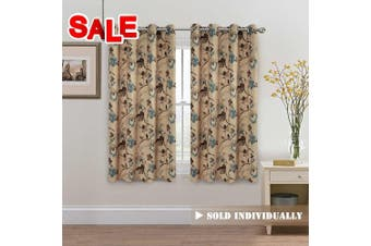 (130cm W X 160cm L, Vintage Floral) - H.Versailtex Vintage Rustic Style Printed Design Room Darkening Blackout Curtain Panels with Antique Grommet Top, Set of 1 Panel, W52 x L63 inch-Taupe and Aqua and Brown Floral
