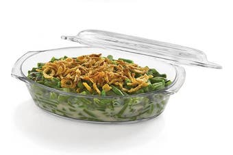 (1.6-quart Dish w/ Cover) - Libbey Baker's Basics Glass Oval Casserole with Cover
