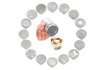 (Stencil and Shaker) - Passionier Stainless Steel Powder Shakers Coffee Cocoa Cinnamon Shaker Cans Mesh Duster With 16PCS Stainless Steel Barista Coffee Decorating Stencils Template For Latte Cappuccino, Cupcake Stencils
