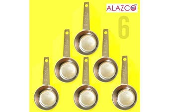 (6pc Stainless Steel) - ALAZCO COFFEE MEASURING SCOOP 1/8 CUP Stainless Steel - Kitchen Baking Measure Spice Herbs Sugar Flour Cocoa Powder Salt (6pc Stainless Steel)