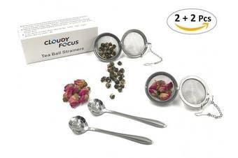 Cloudyfocus Mesh Tea Ball Strainers & Tea Scoop - 2pcs, Stainless Steel Tea Filters Loose Leaf Tea Infuser Strainers Interval Diffuser for Tea - 5.3cm