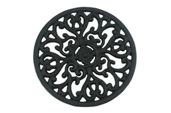 Ogrmar 17cm Diameter Decorative Cast Iron Round Trivet with Vintage Pattern for Rustic Kitchen Or Dining Table with Rubber Pegs (17cm , Brownish black)