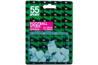 (White Hard Nylon, 8x13 mm + 4x16 mm) - 55 Sport World Cup Replacement Football Studs