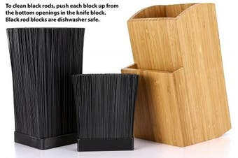 (Movable Black Rods) - Bamboo Universal Knife Block - Extra Large Two-tiered Slotless Wooden Knife Stand, Organiser & Holder - Convenient Safe Storage for Large and Small Knives & Utensils - Easy to Clean Removable Bristles