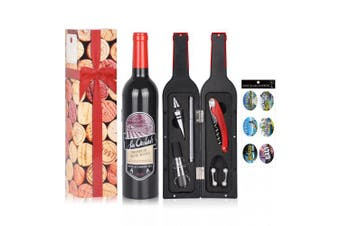 (Red & Black (Glass Paint Marker)) - Wine Accessory Gift Set - Deluxe Wine Bottle Corkscrew Opener, Stopper, Aerator Pourer, Foil Cutter, Glass Paint Marker w/ Reusable Drink Stickers in Gift Box, Wine Gifts for Wine Lover