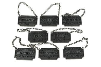 (Rustic Silver) - Liquor Decanter Tags / Labels Set of Eight (Silver or Copper Available) - Whiskey, Bourbon, Scotch, Gin, Rum, Vodka, Tequila and Brandy - Adjustable Chain for the Perfect Fit (Rustic Silver)