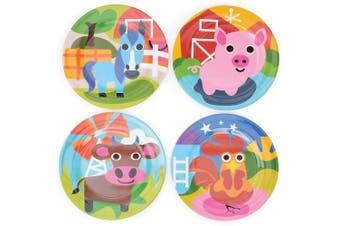 (Plates, Farm) - French Bull - BPA Free Kid's Dinner Set - 20cm Melamine Kids Plate Set - Farm, Set of 4
