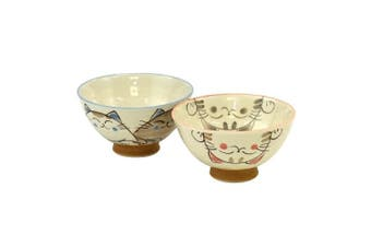 Japanese rice bowl set, ceramic, blue and pink cute smiling cats design, set of 2 bowls