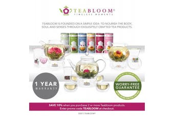 (Blooming Oasis Teapot + 2 Tea Flowers) - Teabloom BLOOMING OASIS Glass Teapot Gift Set – Borosilicate Glass Teapot with Infuser – 4-6 Cups (1010ml) – Two Blooming Tea Flowers Included