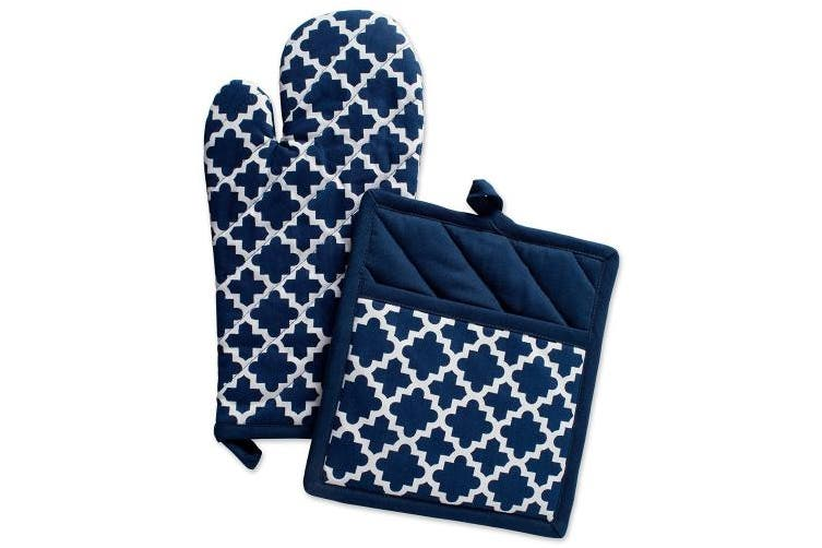 (OM 33cm  x 18cm , PH 23cm  x 20cm , Nautical Blue) - DII Cotton Lattice Oven Mitt 33cm x 18cm and Pot Holder 23cm x 20cm Kitchen Gift Set, Machine Washable and Heat Resistant for Cooking & Baking-Nautical Blue