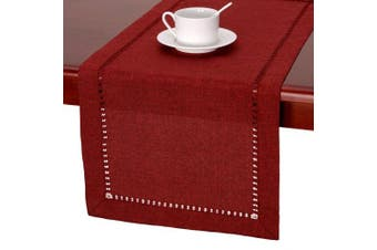 (36cm  x 230cm , Cranberry) - Handmade Hemstitched Polyester Rectangle Table Runners And Dresser Scarves, Cranberry 36cm x 230cm
