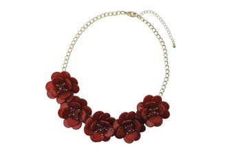 (Wine) - BOCAR Statement Pendant Choker Flower Necklace for Women