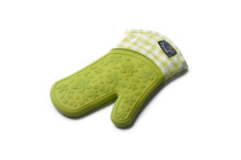 (Lime Green, 29 x 19 x 2 cm) - Zeal Silicone Heavy Duty Single Oven Mitt Glove, Lime Green (29 cm Long) - Gingham