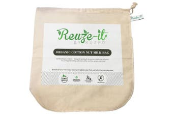 Premium Organic Cotton Nut Milk Bag - Perfect Almond Milk Maker - Reusable Eco-Friendly Food Strainer for Yoghurt, Cheese Cloth, Juice, Tea, Cold Brew Coffee & More - 100%