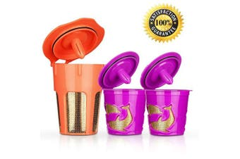 (Orange/Purple) - BRBHOM K Cup Reusable 24K Gold and Coffee Filters Refillable K-Carafe Coffee Pod Keurig 2.0 K200 K300 K400 K500 Series and 1.0 Brewers