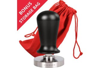 (53mm Tamper) - LuxHaus 53mm Calibrated Espresso Tamper - Coffee Tamper with Spring Loaded Flat Stainless Steel Base