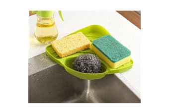 Kloud City Kitchen Triangle Sink Corner Storage Rack Suction Cup Holder Organiser for Dish Cloth Sponge Soap Cleaning Brush