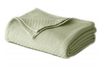 (King, Sage) - Cotton Craft - 100% Soft Premium Cotton Thermal Blanket - King Sage - Snuggle in these Super Soft Cosy Cotton Blankets - Perfect for Layering any Bed - Provides Comfort and Warmth for years