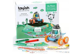 Toyish AWARD WINNING Boys Toys for Toddler & Preschool Kids - Arts & Crafts Racer Car Toy Kit with Colouring Book & Stickers - Boost Creativity & Learning Skills for age 3 - 8 year old