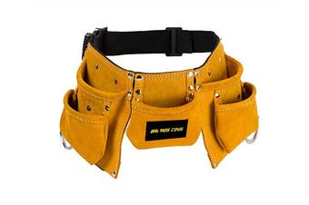 Brown Faux Suede Pretend Play Tool Belt With Adjustable Strap for Kids by Big Mo's Toys
