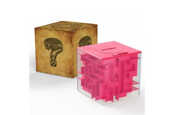 (Rose Red) - Money Saving Cube 3D Puzzle Money Maze Pot for Kids and Adults Christmas Gift by Acekid (Rose red)