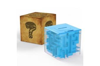 (Blue) - Acekid Money Maze Bank, Coin Cash Bill Storage Box, Game Change Toy, Super Great Gifts(Blue)
