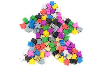 100 Wooden Meeples - 16mm Extra Board Game Bits, Pawns, and Pieces in 10 Colours - Bulk Replacement Tabletop Gaming components and Upgrade Accessories for Assorted Fantasy Strategy Games and Expansions
