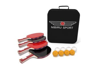 Table Tennis Set (4-Player Bundle) 4 Ping Pong Paddles, 8 ABS Tournament Level Balls   Convenient Storage Bag   Beginners, Professionals   Advanced Speed, Control, Spin   Indoor & Outdoor Play