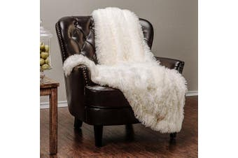(150cm  x 180cm , Ivory White) - Chanasya Super Soft Long Shaggy Chic Fuzzy Fur Faux Fur Warm Elegant Cosy With Fluffy Sherpa Ivory White Microfiber Throw Blanket (150cm x 180cm ) - Solid Shaggy Ivory White