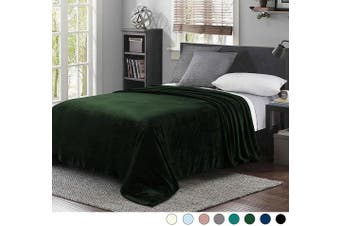 (Queen(230cm  x 230cm ), Forest Green) - Exclusivo Mezcla Super Soft Queen Size Flannel Fleece Blanket as Bed Cover/Bedspread/Coverlet(230cm x 230cm , Forest Green) - Plush, Lightweight, Warm and Cosy