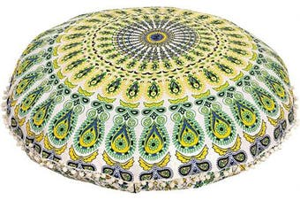 (80cm , Yellow) - Shubhlaxmifashion Mandala Floor Pillow Cushion Seating Throw Cover Hippie Decorative Bohemian Ottoman Pouffes, Pom Pom Pillow Cases,Boho Indian (Yellow)