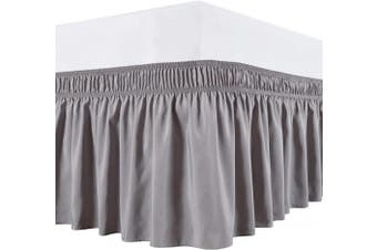 (Twin/Full, Silver Grey) - Biscaynebay Wrap Around Bed Skirts Elastic Bed Ruffles, Easy Fit Wrinkle and Fade Resistant Solid Colour Silky Luxurious Textured Fabric, Silver Grey Full and Twin 38cm Drop