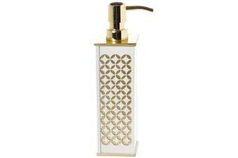 Diamond Lattice Hand Soap Dispenser, Countertop Decorative Lotion Pump, Durable Metal Pump, Resin Bathroom Soap Dispenser, for Elegant Bathroom Decor by Creative Scents