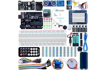 (A)Super) - ELEGOO UNO R3 Project Super Starter Kit Compatible with Arduino IDE with Tutorial, 5V Relay, UNO R3 Board, Power Supply Module, Servo Motor, Prototype Expansion Board, etc. for Beginner