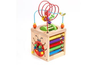 Multifunction Bead Maze, Amagoing 6-in-1 Wooden Cube Activity Centre Learning Cube Toys for Kids and Toddlers