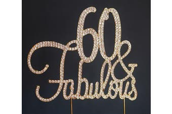 (60&Fab Gold) - Premium Metal 60 and Fabulous Gold Rhinestone Gem Cake Topper. Perfect 60th Birthday Party Keepsake and Decoration. Sparkling, Crystal and Diamond Style Bling Makes a Great Centrepiece. (60 & Fab Gold)