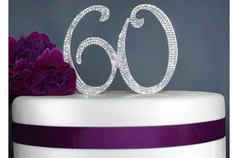 (60 Silver) - 60 Cake Topper | Premium Sparkly Crystal Rhinestones | 60th Birthday or Anniversary Party Decoration Ideas | Perfect Keepsake (60 Silver)