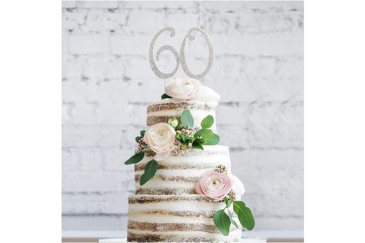 (60 Silver) - 60 Cake Topper   Premium Sparkly Crystal Rhinestones   60th Birthday or Anniversary Party Decoration Ideas   Perfect Keepsake (60 Silver)