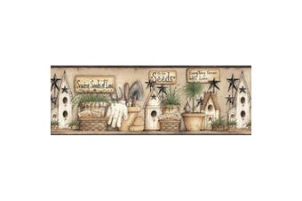Brewster CTR63123B Harlow Black Everything Grows With Love Border Wallpaper