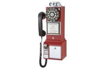(Red) - Crosley CR56-RE 1950's Payphone with Push Button Technology, Red